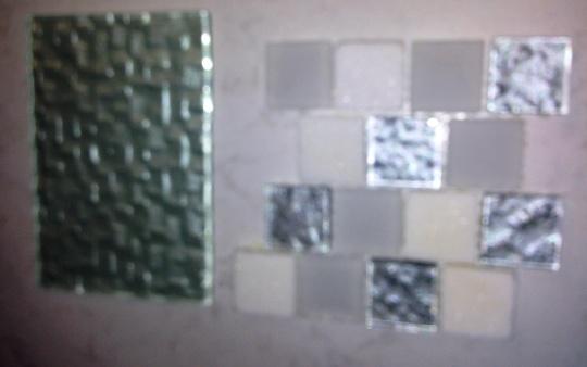 Glass tiles-too modern for my husband.