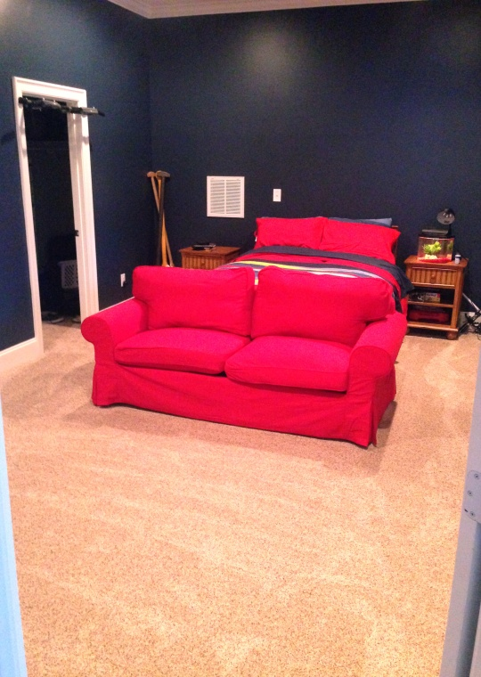 Ikea Extorp sleeper sofa.  It is a true canvas red, my flash gave it pink underotnes.
