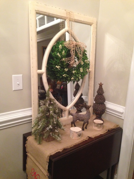 Same table and mirror is up all year round but added some holiday decor to give it a different feel