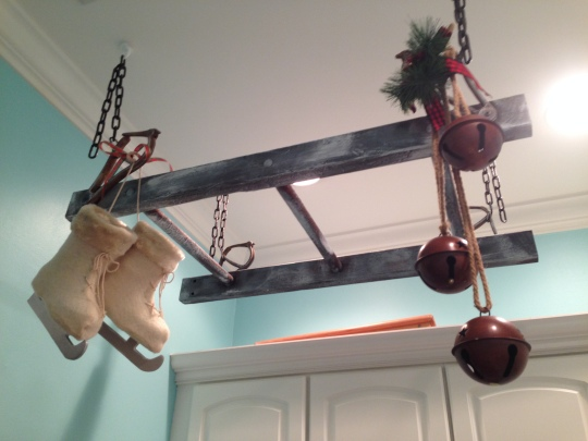 Vintage Ladder drying rack decorated for Christmas.