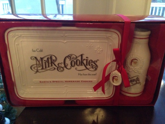 Vintage Milk and Cookies platter for Santa.