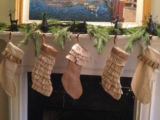 Burlap stocking fresh mixed pine garland