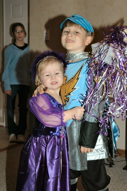 Her brother was more then willing to dress the part of a brave Knight