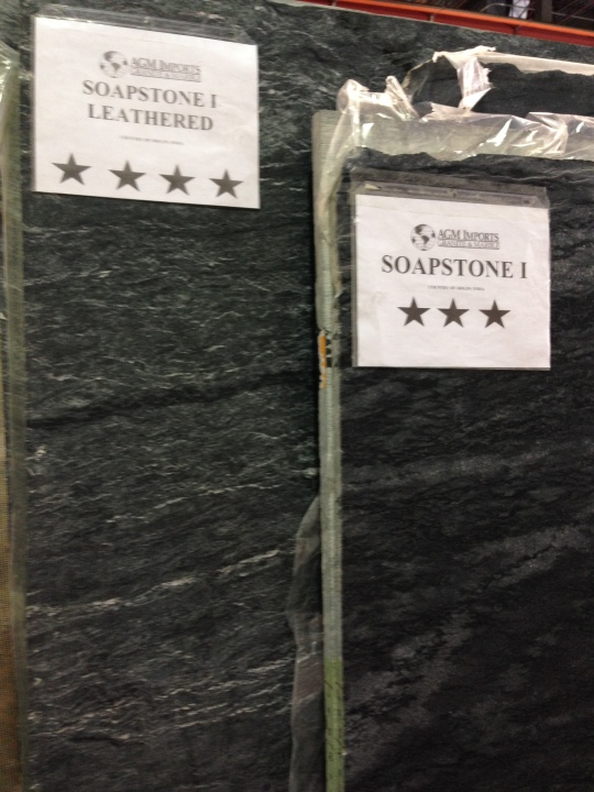 Our local warehouse showed leathered and traditional soapstone